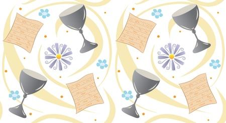 過ぎ越しの祭りのパターン - マッツァ、カップ、花と渦のパターン。  イラスト・ベクター素材