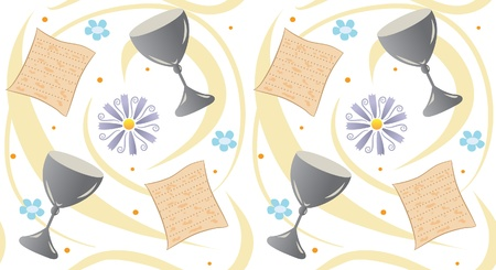 passover pattern - pattern of matzah, cup, flowers and swirls.