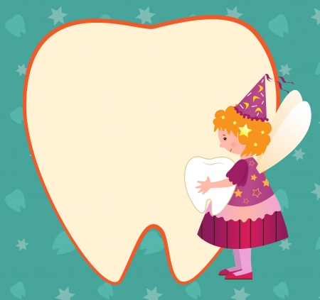 Tooth Fairy - illustration of a cute tooth fairy holding a tooth and standing beside a tooth shaped blank note. Vector