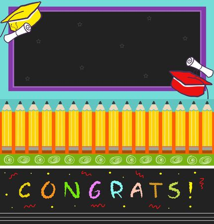 Congrats - Vector illustration of a colorful graduation hats, diplomas, pencils and the word congrats at the bottom with a blank chalkboard at the top. Иллюстрация