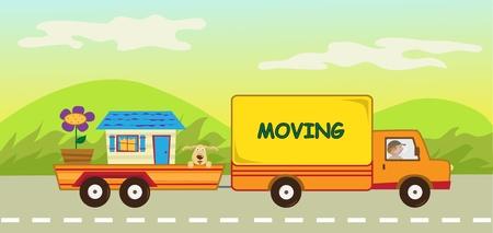 Moving Truck en Trailer - Leuke vector illustratie van een rijdende vrachtwagen die een hond, een huis en een grote bloem draagt. Stock Illustratie