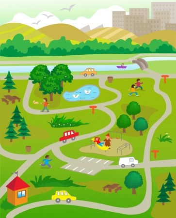 At The Park - Vector illustration of an aerial view of a park with people doing activities.   Çizim