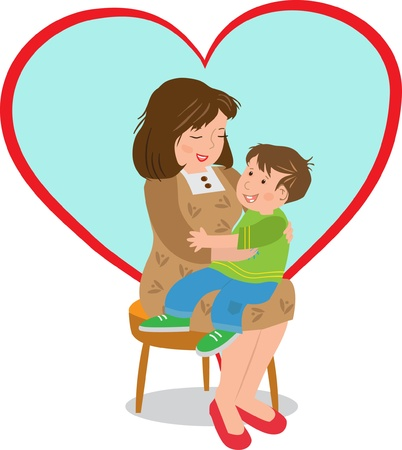 child s: Mother and Child -  Vector illustration of a boy sitting on his mother s lap and a big heart shape in the background