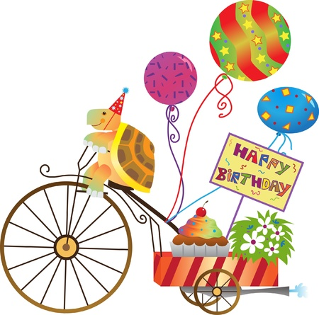 Birthday Tortoise - illustration of a cute tortoise on a motorize tricycle with balloons, cupcake and a happy birthday sign.  Vector