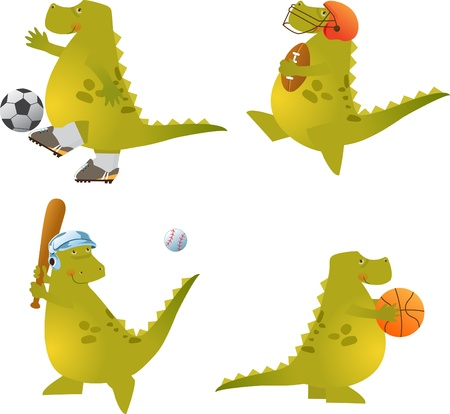 Play Ball Dino - set of four cute dinosaurs playing sports.  Vector