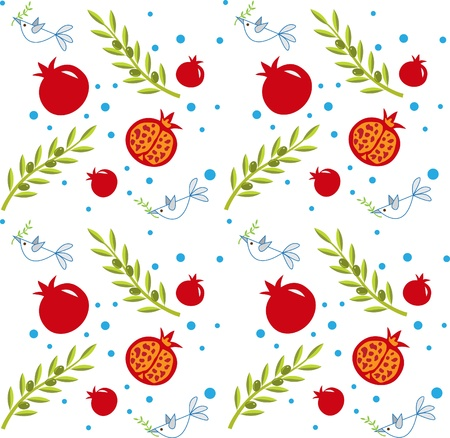 Pattern - pattern of pomegranate, olive branch and peace doves.  Vector