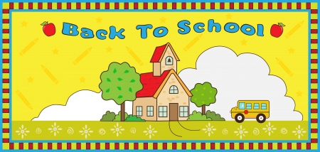 border cartoon: Back to School - Cute  illustration of a school house, school bus and decorative background and frame. With the word Back To School at the top.