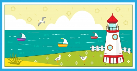 Lighthouse - Lighthouse scenery - Cute  illustration a lighthouse, seagulls, boats and decorative elements. Ilustração
