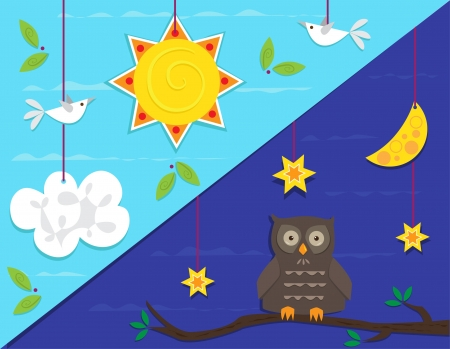 Day and Night - Cute vector illustration that represents day and night scene. Eps10 Çizim