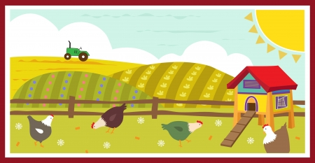 Chickens in the Field - Cute Vector illustration of chickens in the field and a chicken coop.