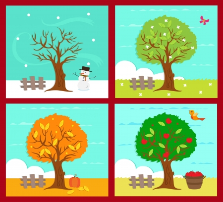 winter season: The Four Seasons - Vector illustration of the four season.