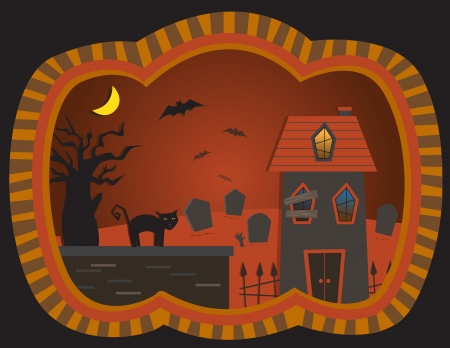 haunted house: The Graveyard House - vector illustration of a spooky house, graveyard, bats and a black cat Illustration