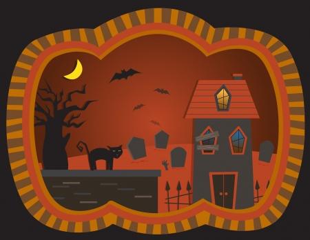 The Graveyard House - vector illustration of a spooky house, graveyard, bats and a black cat Illusztráció