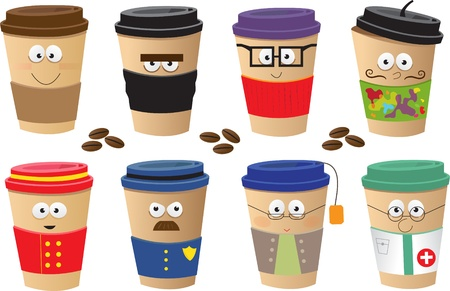 Coffee Cups Characters - Cute vector set of 8 coffee cups characters  Eps10 Stock Illustratie