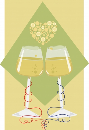 tying the knot - Vector illustration of wine cups with a heart made of stylized bubbles above them  Illusztráció