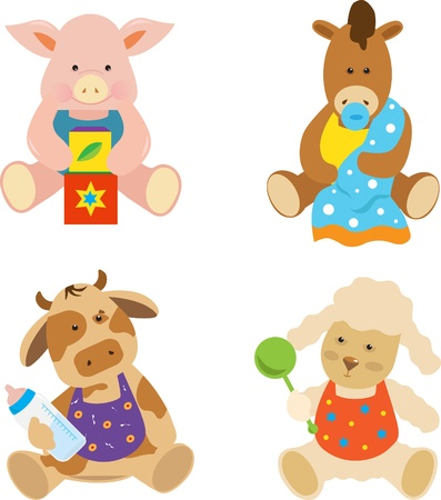 Farm Babies - Cute vector set of 4 farm animals