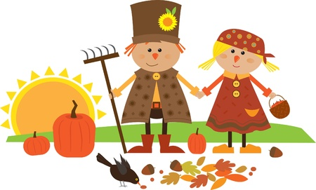 peasant woman: Cute illustration of scarecrow couple holding hands