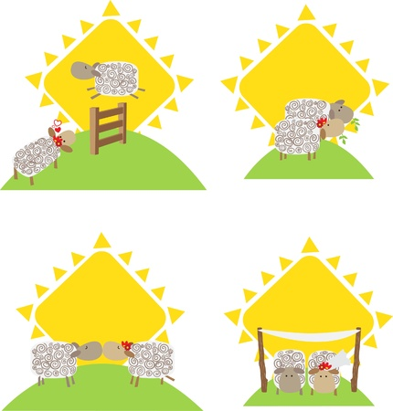 Sheep and Romance - cute vector illustration of sheep in relationship  Eps10 Ilustrace