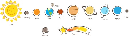 Illustration of the solar system planets Illusztráció