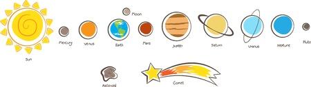 Illustration of the solar system planets Vettoriali