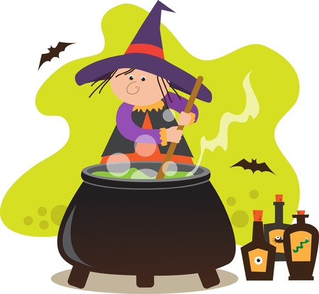 Cute Witch With Pot - Cute witch mixing potion in a pot  Eps10