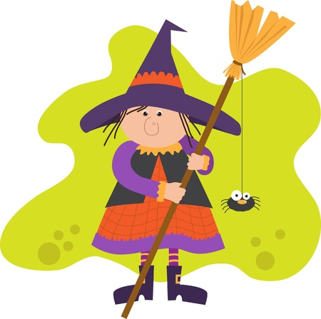 broom: Cute Witch With Broom Illustration