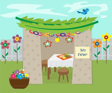 sukkah: Decorative Sukkah -  illustration of sukkah with decoration and holiday symbols