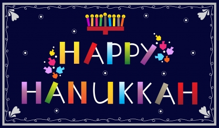 hanukkah menorah: Happy Hanukkah - Happy Hanukkah banner with menorah and dreidels Illustration