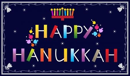 Happy Hanukkah - Happy Hanukkah banner with menorah and dreidels Ilustrace