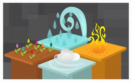 cuatro elementos: Los cuatro elementos - Ilustraci�n de los cuatro elementos de la naturaleza Eps10 Vectores