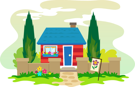 House - cute illustration of red and blue house with a beautiful surroundings  Çizim