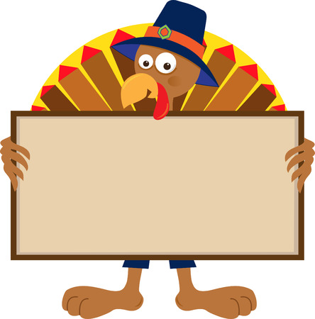 happy thanksgiving: Turkey Holding Sign - Cartoon Turkey holding a blank sign