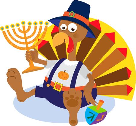 hanukkah: Turkey and Menorah - Cartoon turkey holding a menorah