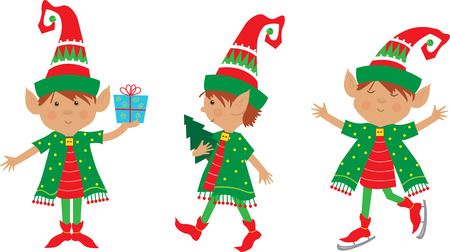 Elf Set - Cute set of three cheerful elves   Vector