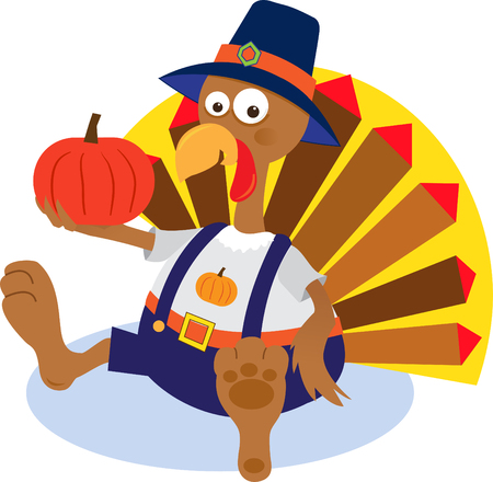 Turkey and Pumpkin - Cartoon turkey holding a pumpkin   Vector