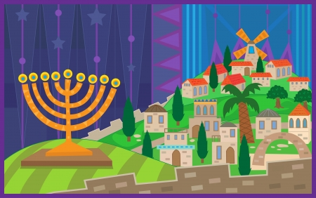 Hanukkah Night in Jerusalem - Colorful illustration of a menorah viewing on a stylized Jerusalem