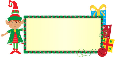 Elf Banner - Cute elf with a festive banner   Vector