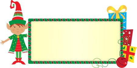 Elf Banner - Cute elf with a festive banner Stock Vector - 23090306