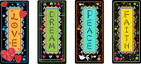 Inspirational Words - Set of four tags with the words love, dream, peace and faith   向量圖像