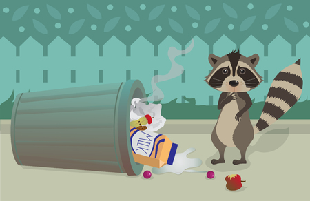 Raccoon and Trashcan - Cute raccoon feeling guilty for knocking over a trashcan