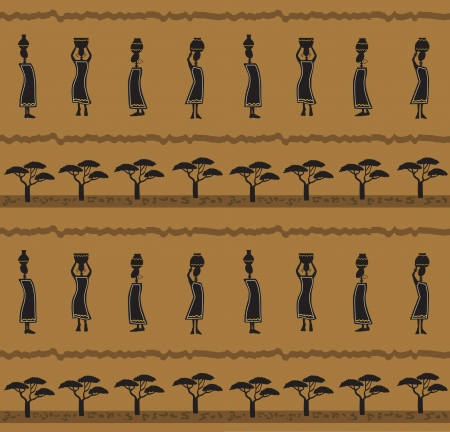 African Pattern - Stylized pattern of a silhouetted African women carrying baskets  Eps10 Ilustração