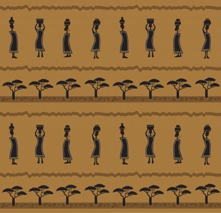 femmes africaines: Motif africain - Motif stylis� d'une silhouette des femmes africaines portant des paniers Eps10