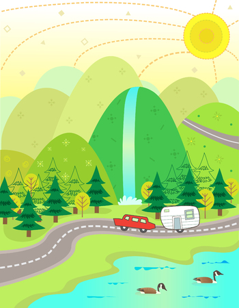 cascade mountains: Lake Vacation - Cute illustration of a car and a trailer on their way to a vacation at the lake  Eps10
