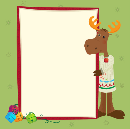 Moose Banner - Cute holiday moose with a decorative banner  Eps10