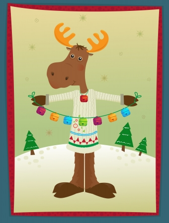 Moose and Bells - A holiday moose holding colorful bells is standing on a snowy hill with trees in the background  Eps10 Vector