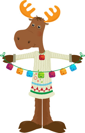Holiday Moose Icon - Cute cartoon moose holding colorful bells  Eps10