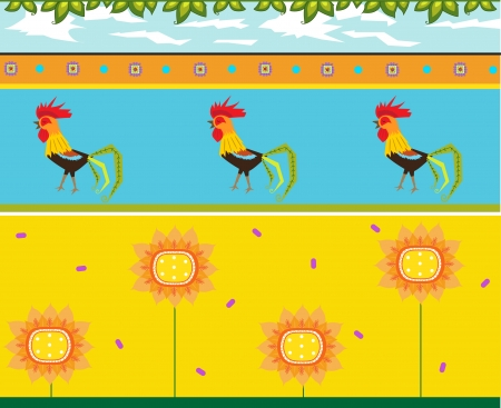 Rooster Pattern - Colorful pattern of roosters and flowers  Eps10
