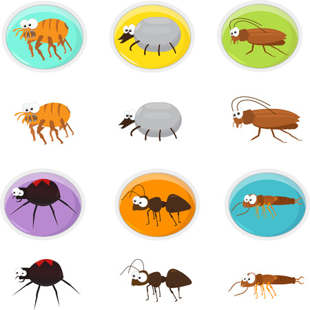Cartoon pests - Cute Icon set of cartoon pests  Eps10