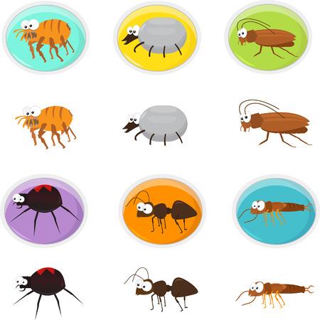 plagas: Plagas de dibujos animados - conjunto del icono lindo de la historieta de plagas Eps10 Vectores