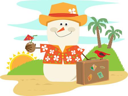 ハワイアン雪だるま - かわいい漫画雪だるまハワイアン バカンス Eps10